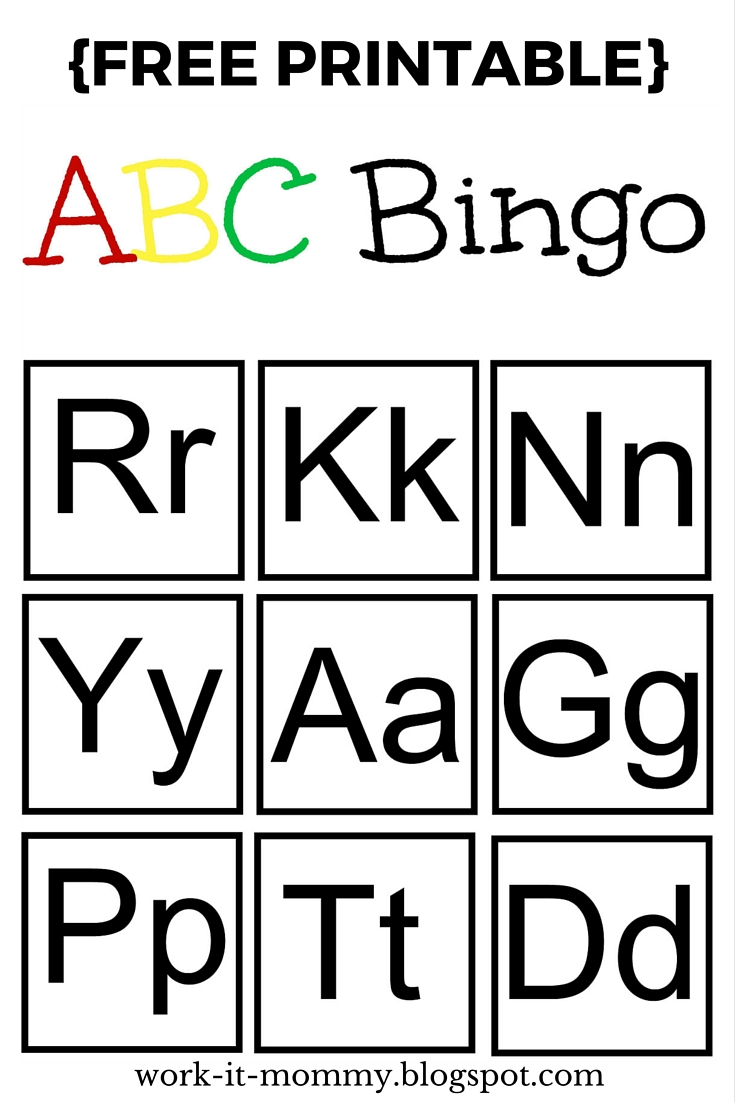 photo about Abc Bingo Printable titled Do the job it Mommy: Alphabet Bingo TTBH #7