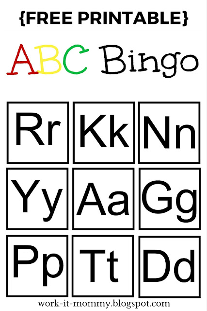 ABC Bingo printable game