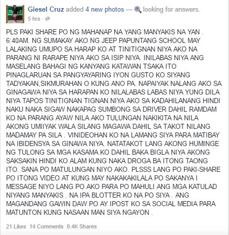 Giesel Cruz Facebook viral post