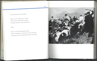 MacLeish text about a riot next to image of a riot scene