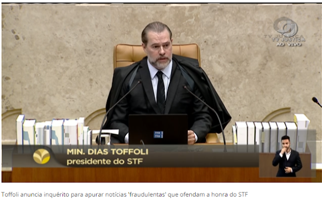 Toffoli reage e manda apurar 'notícias fraudulentas' que ofendam ministros do STF e o Ministro da Justiça quando vai fazer o mesmo?