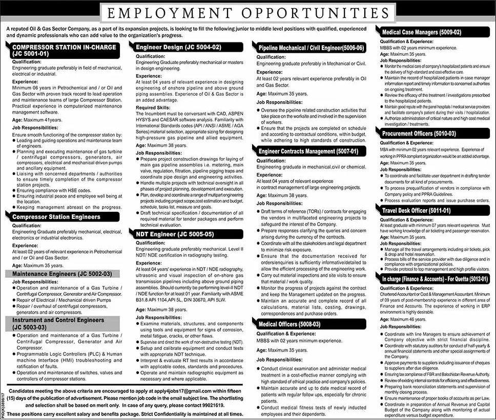 oil  u0026 gas sector company jobs in pakistan 2017 engineers