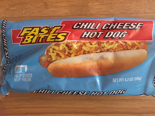 The packaging to Fast Bites Chili Cheese Hot Dog, from Dollar Tree