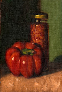 Oil painting of a red pepper in front of a tall slender glass jar of crushed chillies.
