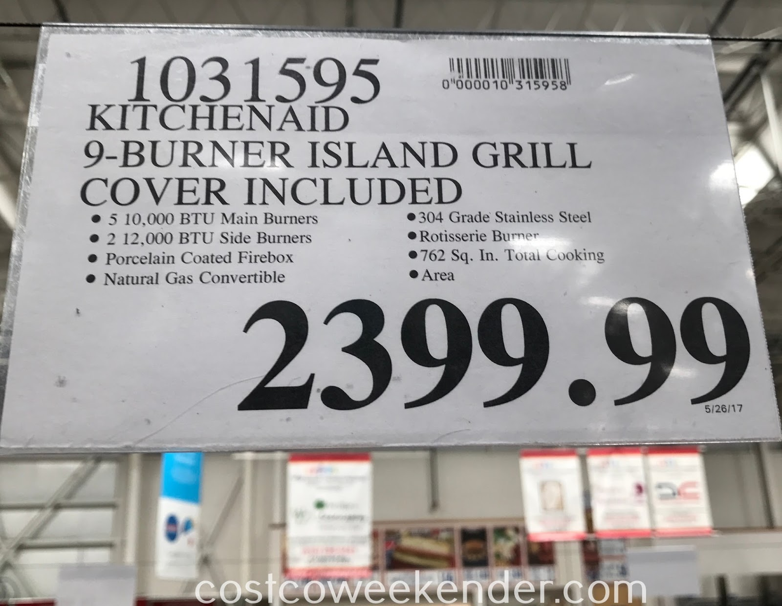 Costco 1031595 - KitchenAid Eight Burner Outdoor Island Gas Grill with Rotisserie Burner: great for any backyard or patio