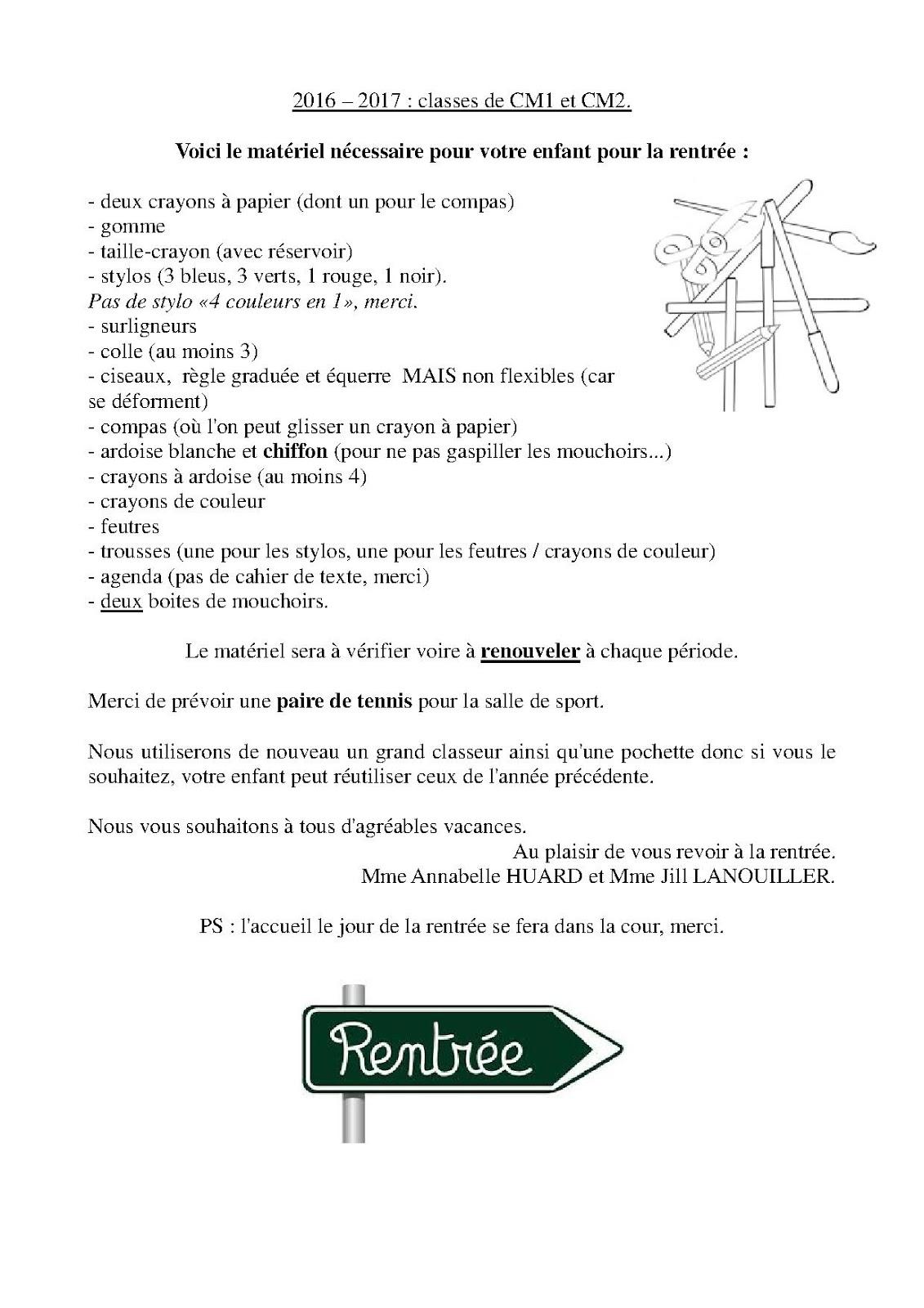 Bienvenue à La Clé Des Champs Liste Du Matériel Cm1 Et Cm2
