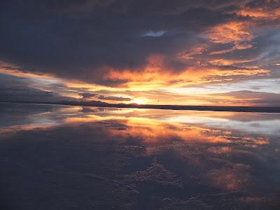 夕方のウユニ塩湖