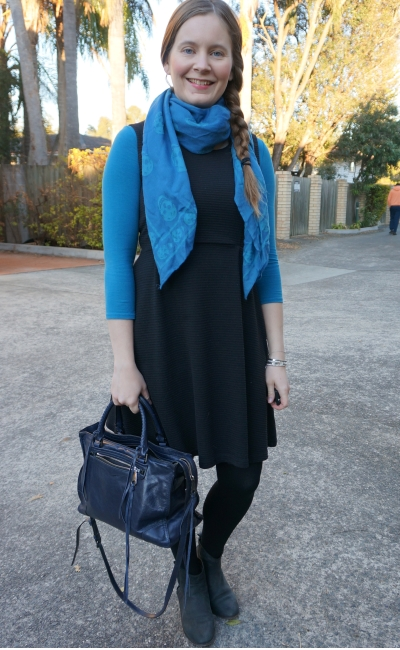 teal long sleeve tee under black fit and flare dress for office with matching scarf | awayfromblue