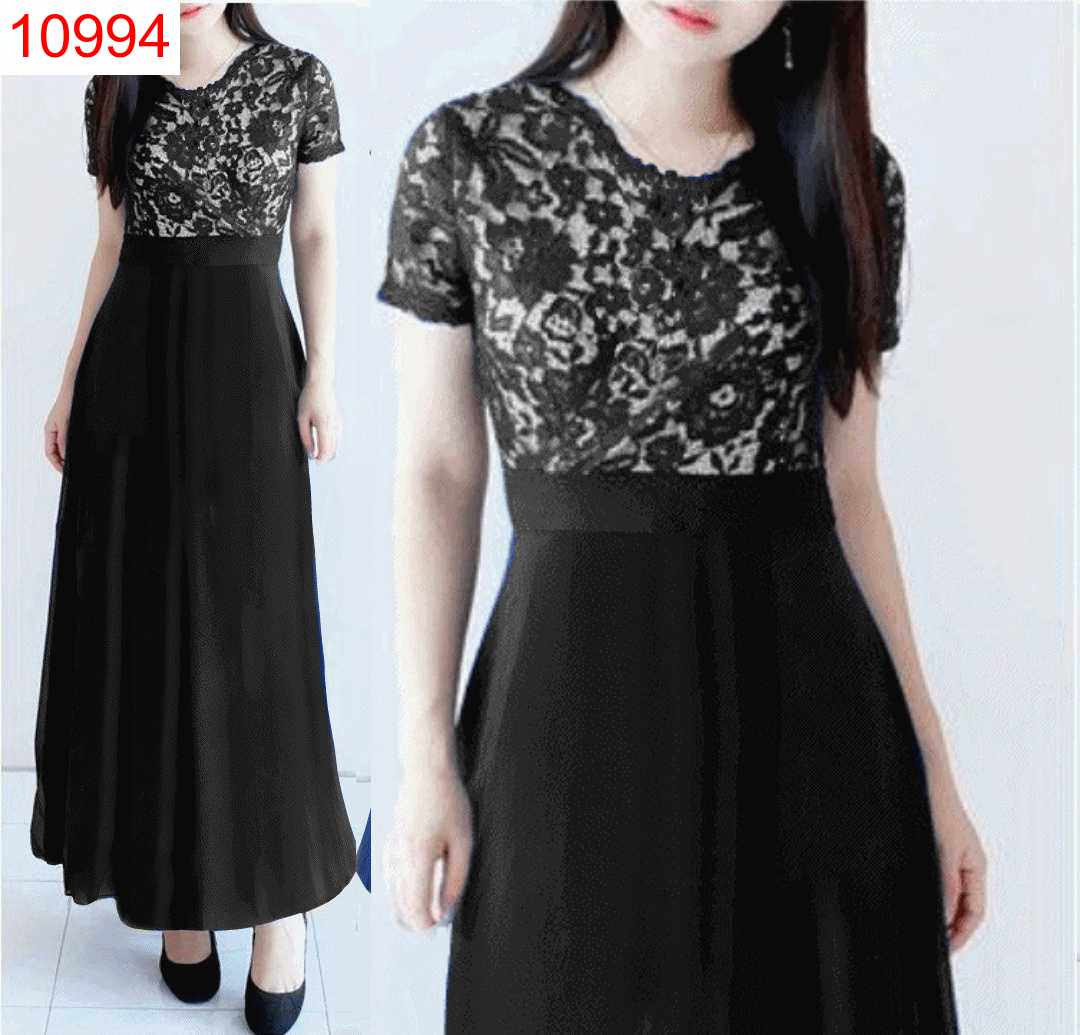 DRESS CLARISSA HITAM - 10994