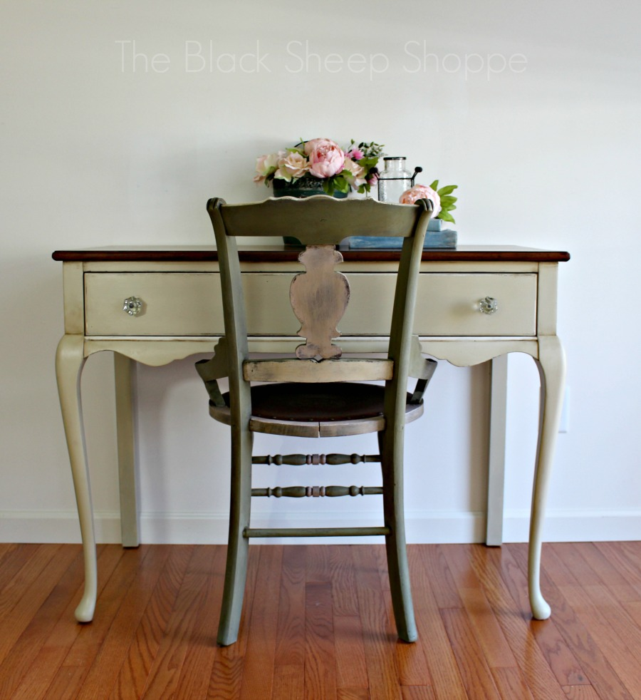 Vintage desk with painted chair