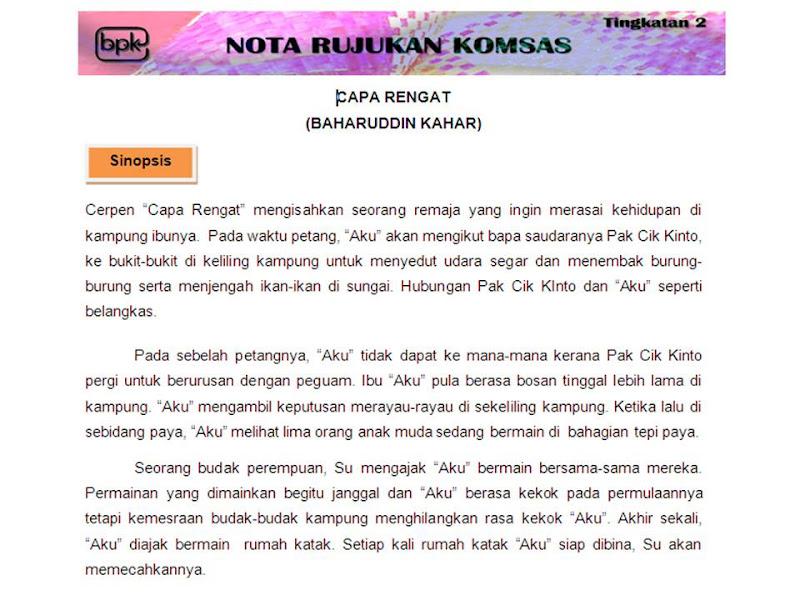 Bahasa Melayu Tingkatan 2: CAPA RENGAT (BAHARUDDIN KAHAR)