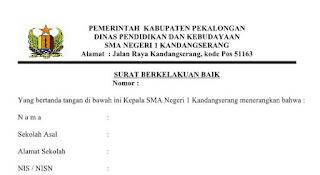 Contoh Format Surat Keterangan Kelakuan Baik Siswa