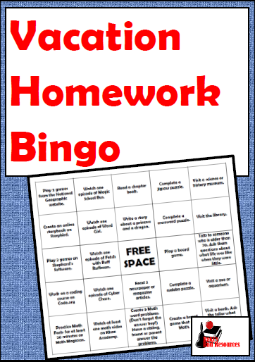 Free resource - vacation homework bingo a hands on alternative to the vacation work packet - from Raki's Rad Resources.