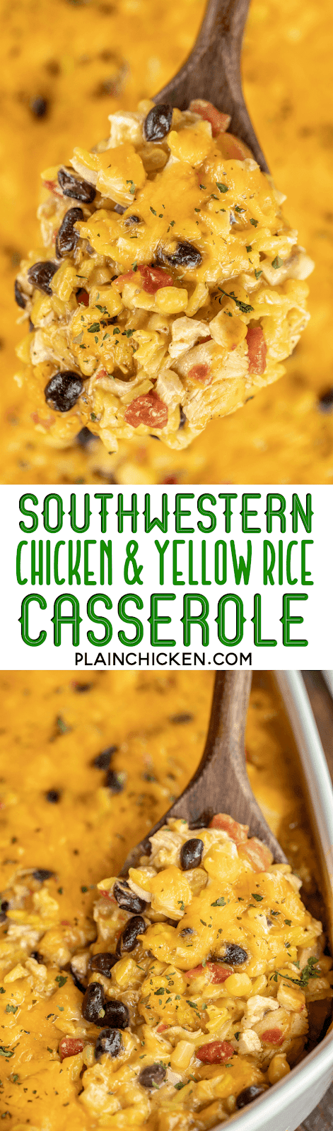 Southwestern Chicken & Yellow Rice Casserole - seriously delicious! We ate this for dinner and reheated for lunch the next day. Chicken, yellow rice, cream of chicken soup, corn, black beans, rotel diced tomatoes and green chiles and cheese.Use a rotisserie chicken and this is ready to bake in minutes. Can make in advance and refrigerate or freeze for later. Everyone LOVES this quick and easy weeknight casserole recipe! #freezermeal #chicken #casserole #mexican #chickencasserole