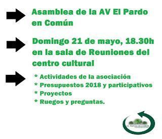 Asamblea de la AV El Pardo en Común, este domingo a las 18.30h en nuestra sala del Centro Cultural