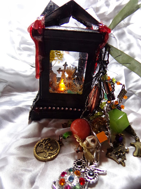 Giant Skull Tag - Chunky Charm Dangle on Tim Holtz Lantern Die - - Handmade Witch Wand