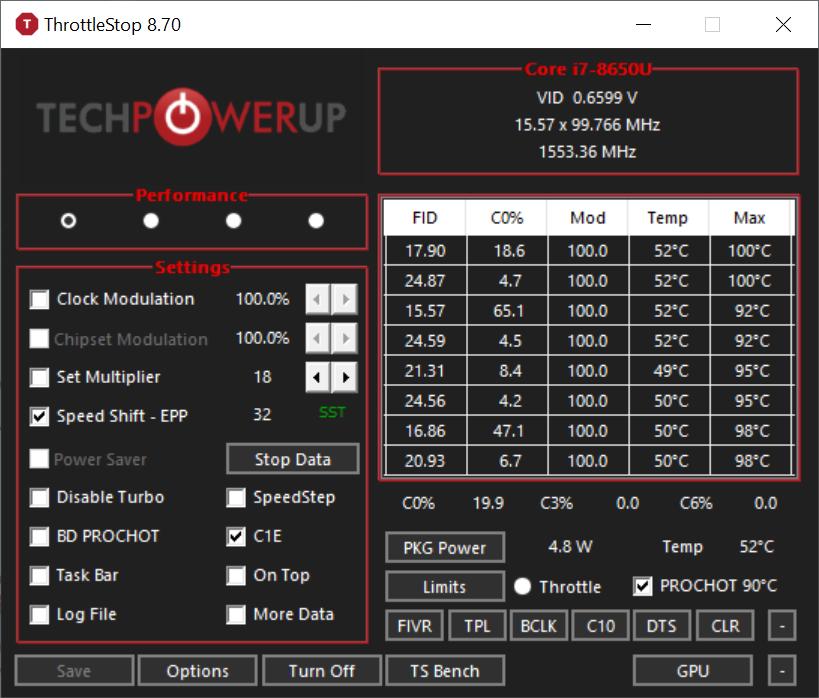 SurfaceBook 2 で CPUのクロック周波数が 0 4GHz (400MHz) に