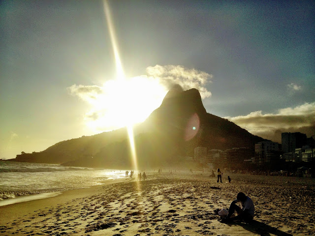Sunset over Ipanema Beach, Rio de Janiero, Brazil