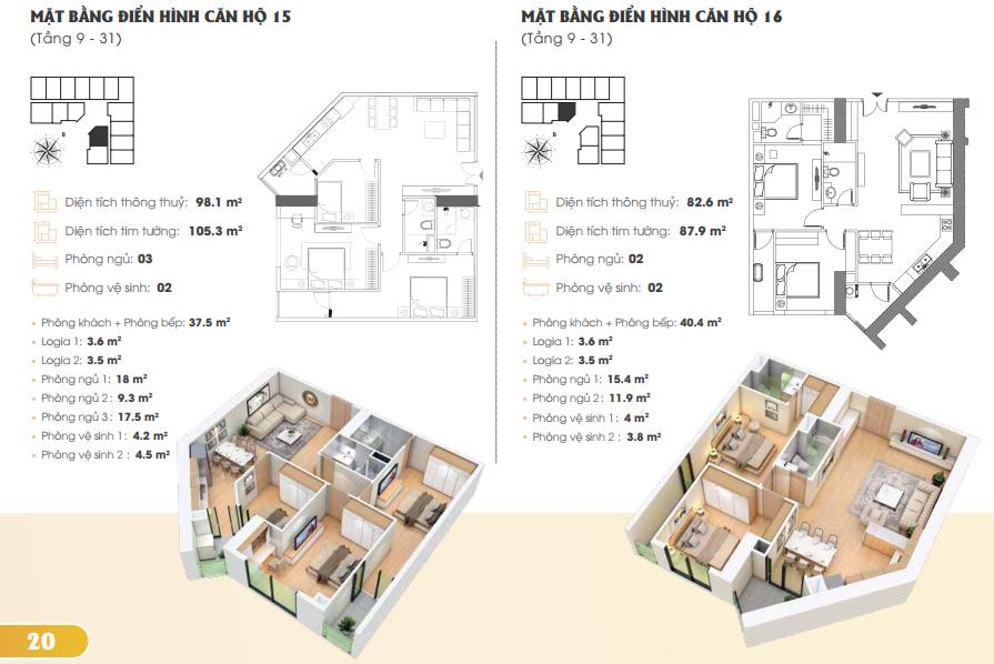 Thiết kế căn hộ 15 16 Golden Park Tower