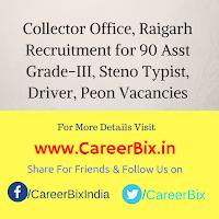 Collector Office, Raigarh Recruitment for 90 Asst Grade-III, Steno Typist, Driver, Peon Vacancies