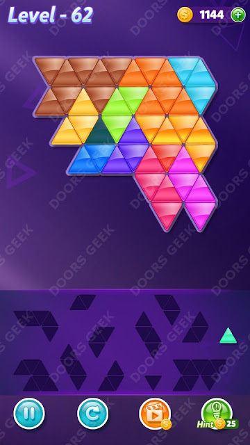 Block! Triangle Puzzle 12 Mania Level 62 Solution, Cheats, Walkthrough for Android, iPhone, iPad and iPod