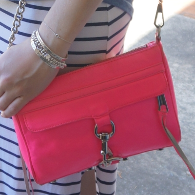 stripe maxi skirt, Rebecca Minkoff neon pink mini MAC | Away From The Blue
