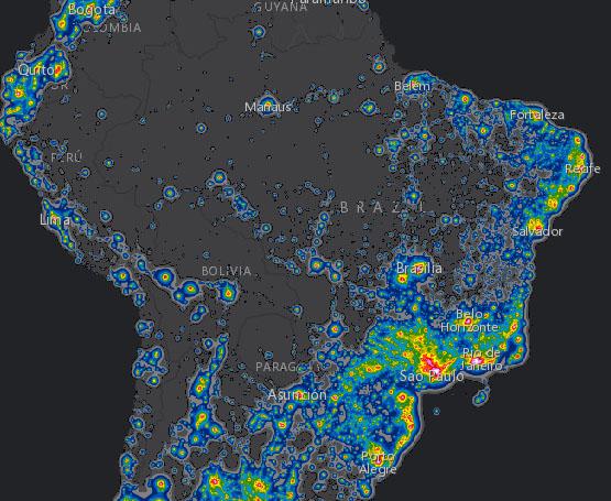 mapa da poluição luminosa - Brasil