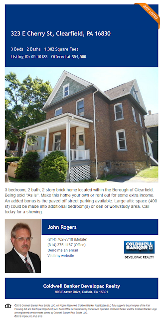 john a rogers coldwell banker developac realty 323 e cherry clearfield pa wilds for sale rental