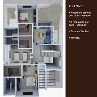 plano planta arquitectonica segundo nivel recamaras