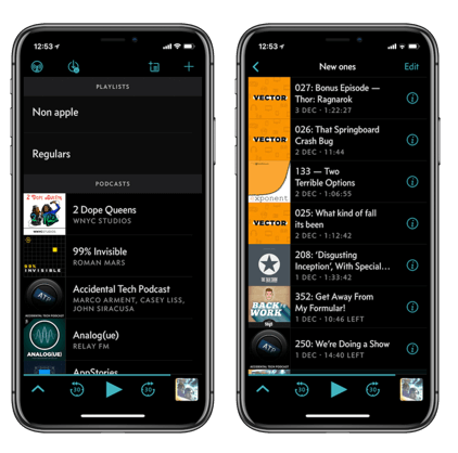 تطبيق Overcast,iphone x