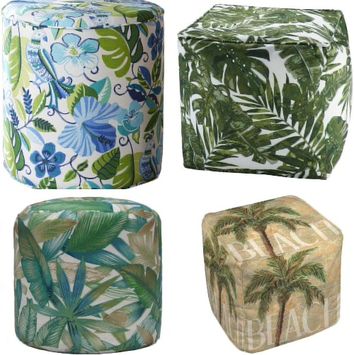 Tropical Leaf Print Poufs