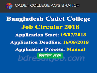 Bangladesh Cadet College Lecturer Job Circular 2018