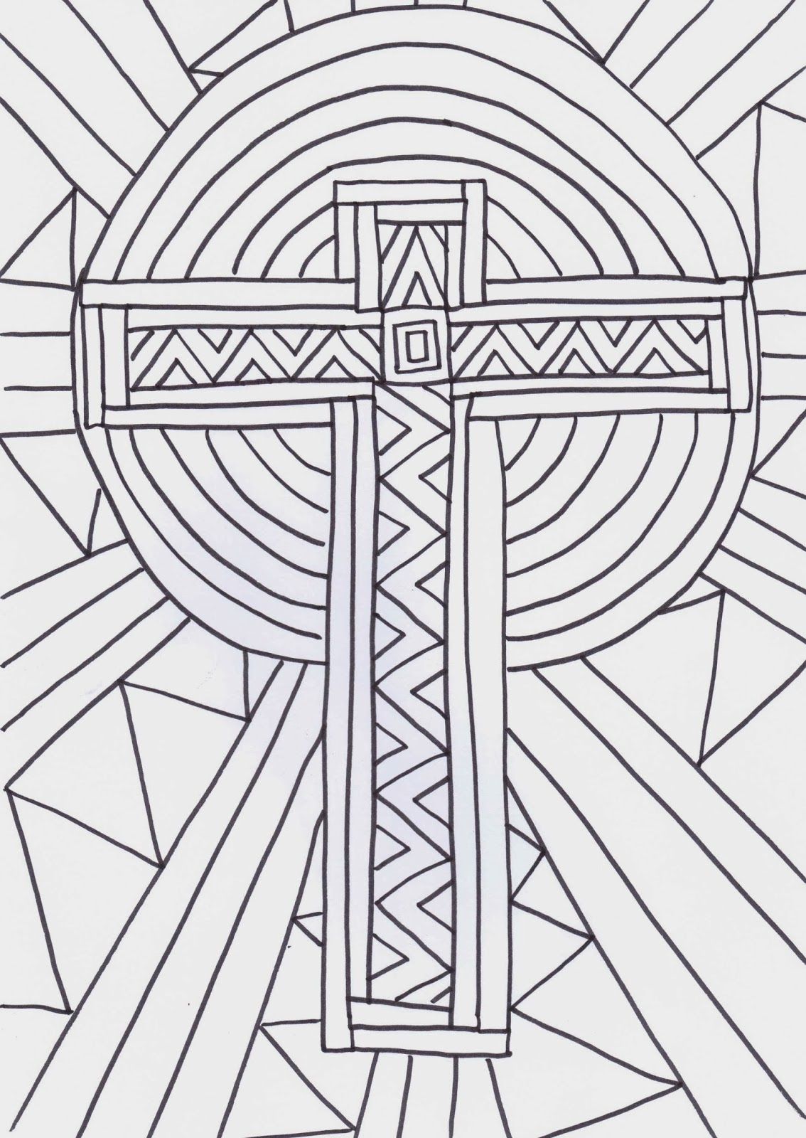three crosses coloring page - flame creative children 39 s ministry cross reflective