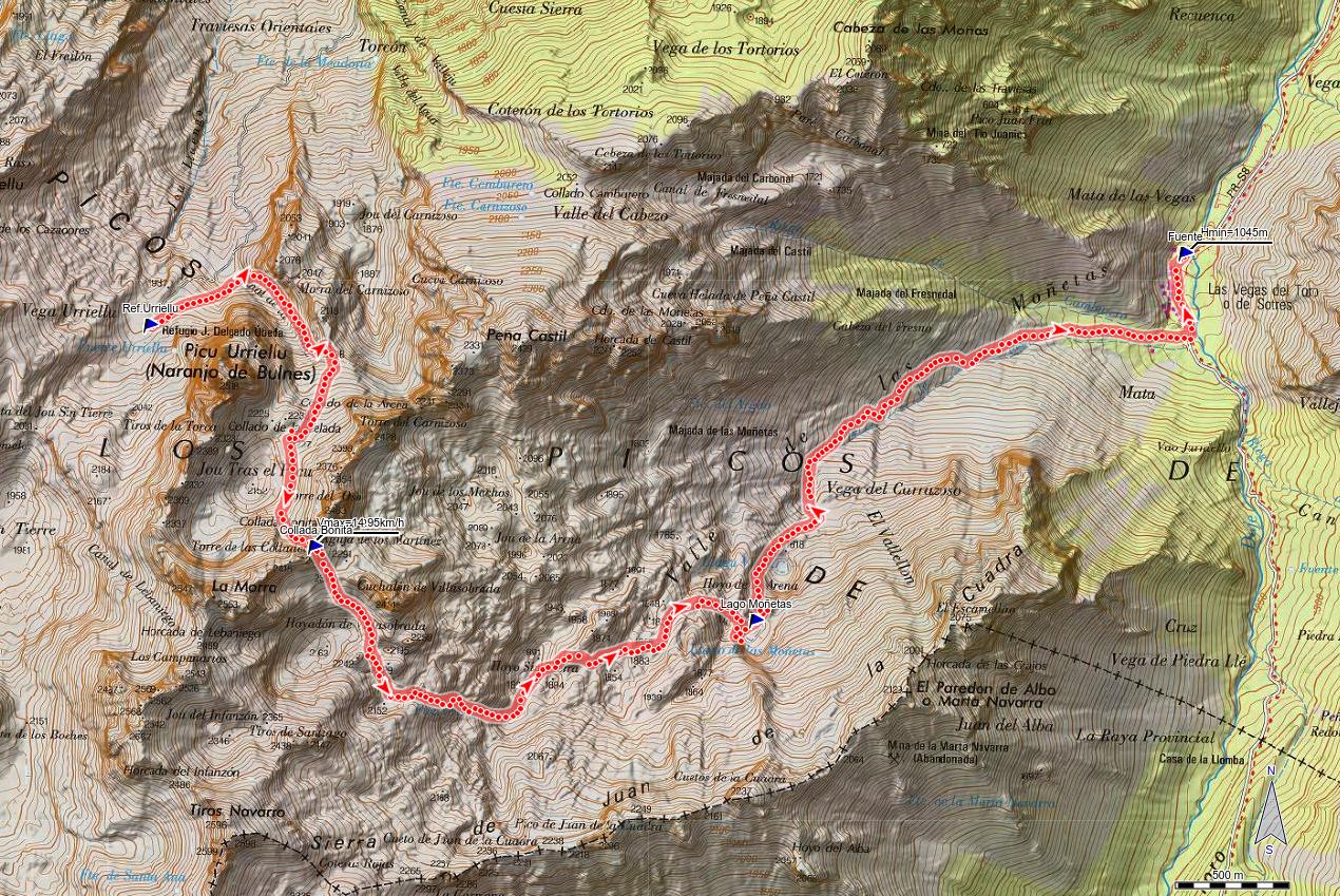 Mapa de la ruta Urriellu, Collada Bonita, Moñetas, Vegas del Toro
