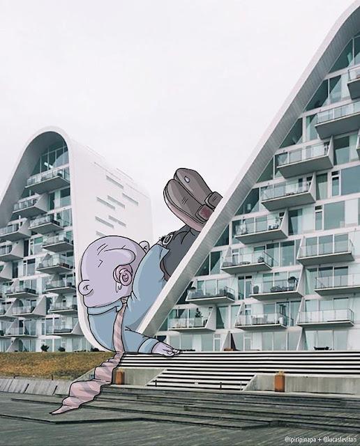 foto unik lucu kreatif dan inovatif foto asli yang dipadukan dengan kartun-2