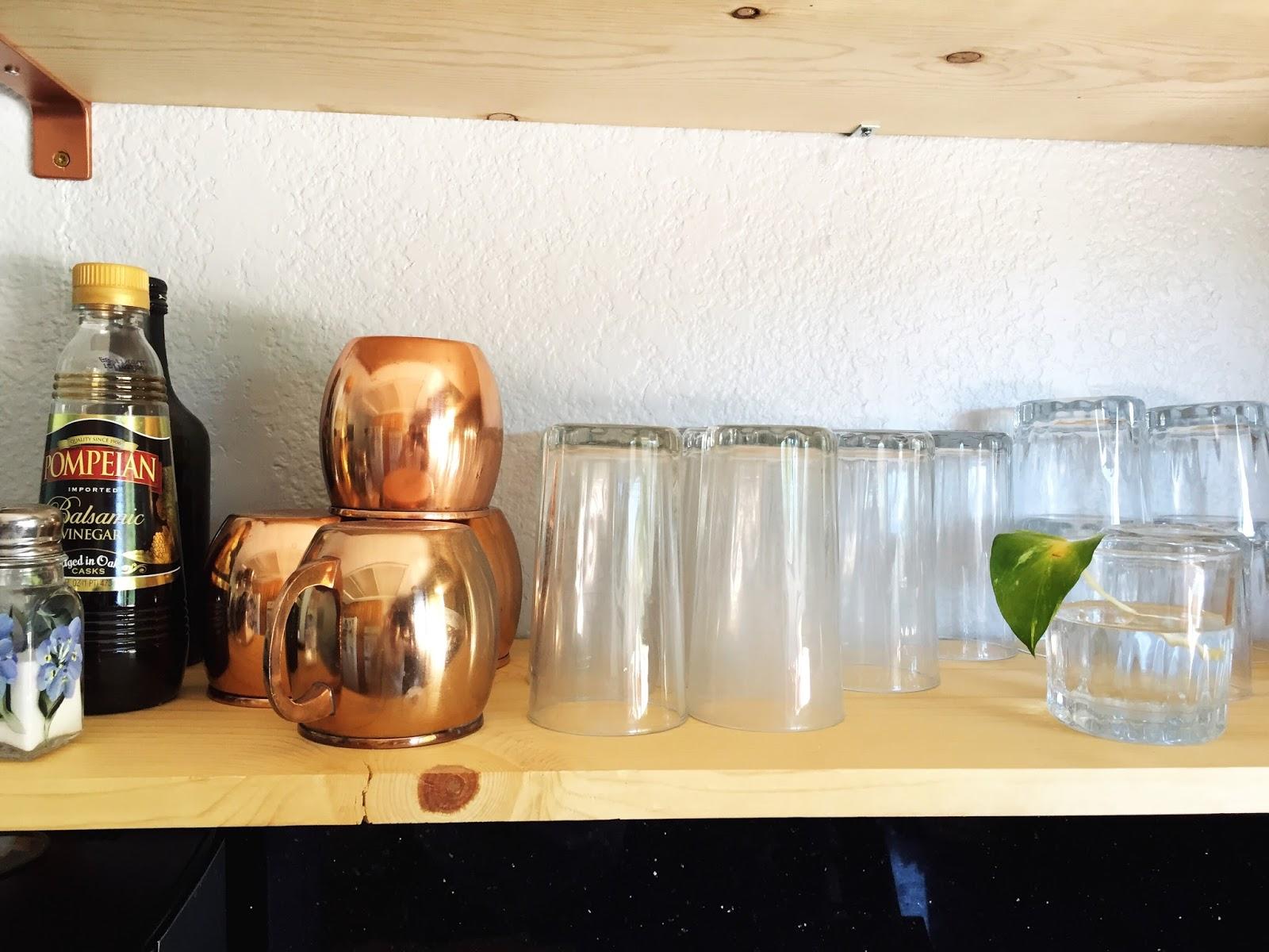 Kitchen Progress: Copper Open Shelving
