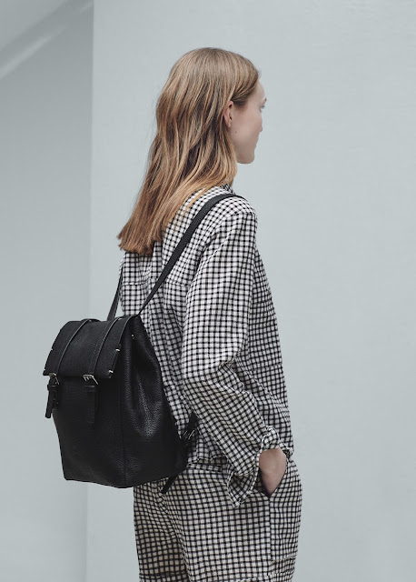 mango black leather backpack, black pebble leather backpack,