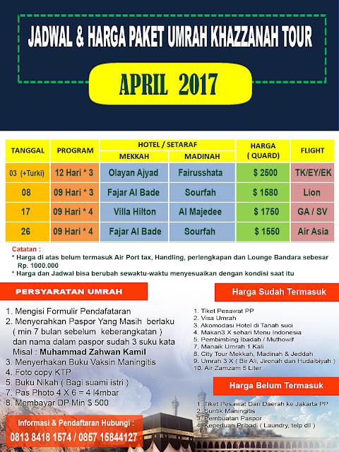 Biaya paket umroh April 2017