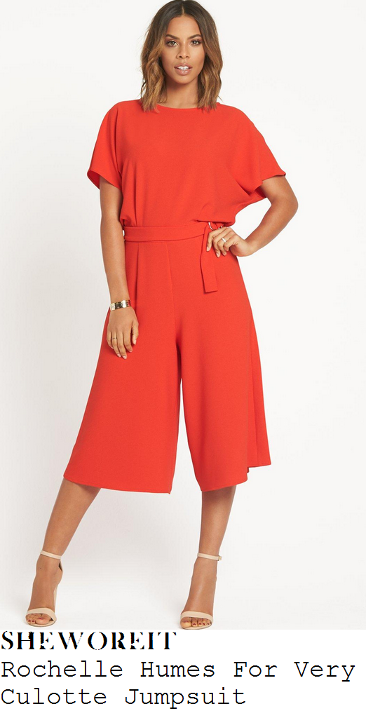 rochelle-humes-orange-red-short-sleeve-belt-detail-relaxed-fit-wide-leg-cropped-culotte-jumpsuit