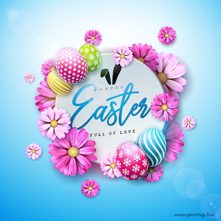 Easter eggs and Beautiful flowers Happy Easter wishes Full HD Quality Greetings