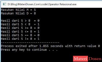 Contoh Program Menggunakan Operator Relasional C++