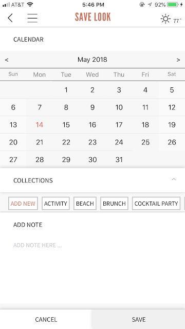 screenshot of outfit scheduler in the Finery app