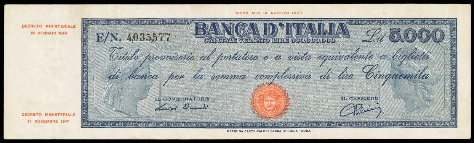 Italy 5000 Lire note