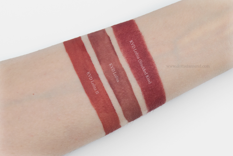 Kat Von D Lolita comparison swatches