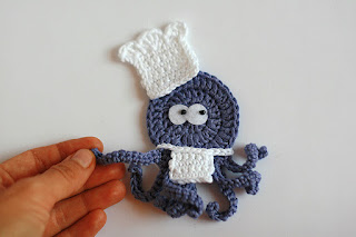Handmade crochet applique CHEF The busy Octopus by TomToy