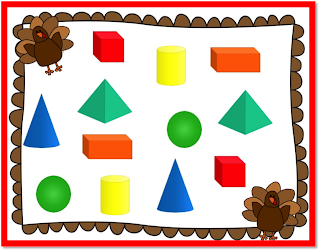 3D shapes, November Math and Literacy centers