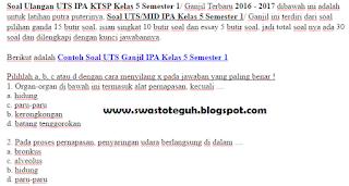 download Contoh Soal UTS Ganjil IPA Kelas 5 Semester 1 ktsp 2016 2017