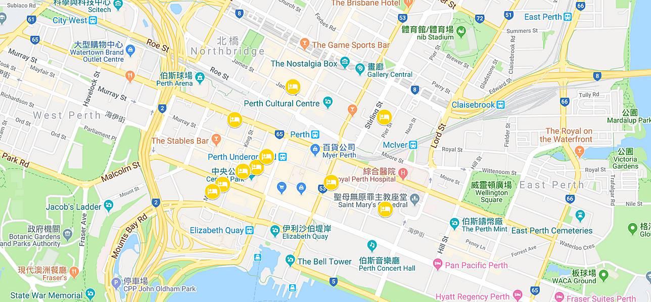 伯斯-市區-住宿-地圖-推薦-飯店-旅館-民宿-酒店-公寓-便宜-CP值-自由行-觀光-旅遊-Perth-hotel