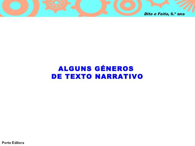 GÊNEROS DE TEXTO NARRATIVO
