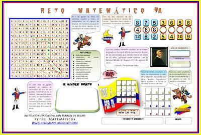 Problemas de ingenio, Problemas matemáticos, Retos Matemáticos, Criptoaritmética, Sopa de Letras, Descubre el Número